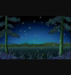 Scene with fireflies in forest at night vector