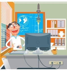 Scientist performing an experiment cartoon vector image