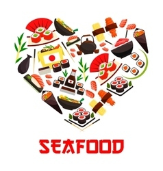 Seafood cuisine heart symbol with sushi icons vector