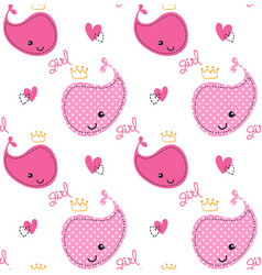 seamless pattern cute pink whales girl with crown vector image