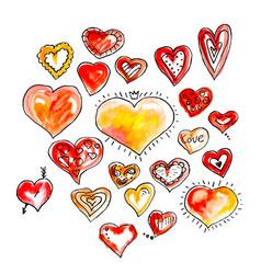 set beautiful watercolor and ink drawing hearts vector image