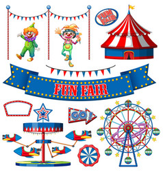 Set circus items on white background vector