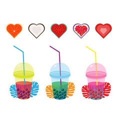 Set milk tea with tapioca balls in a flat style vector