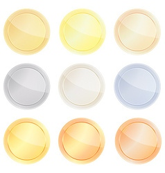 Set of blank templates centric circles for coin vector