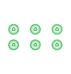 set recycling organic plastic paper glass vector image