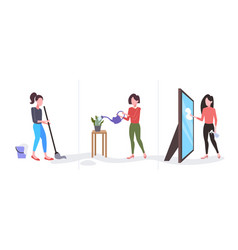 Set woman cleaner wiping glass mirror mopping vector