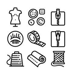 sewing related outline icons set isolated on vector image