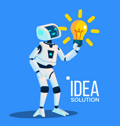 smart robot with yellow bulb find an idea vector image