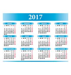 Spanish calendar 2017 with festivities vector