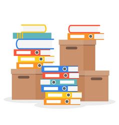 stack of folder books and paper boxes flat design vector image