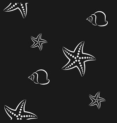 starfish and shell pattern seamless vector image
