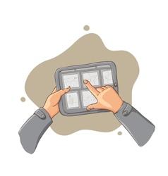 Tablet pc in hands - vector