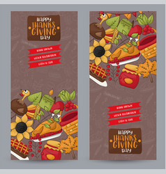 thanksgiving vertical banner set happy holiday vector image