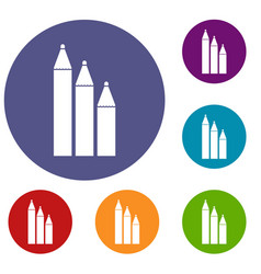 three pencils icons set vector image