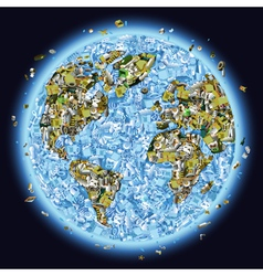 Trashed Planet vector image