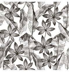 Tropic plants floral seamless jungle pattern vector