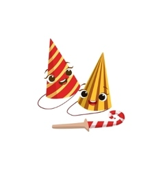 Two Paper Party Hats And Horn Kids Birthday Party vector image