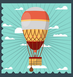 vintage aerostat in the sky vector image