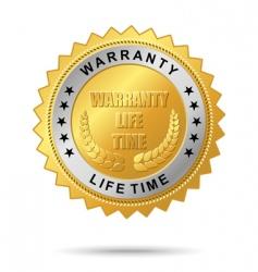 warranty life time golden label vector image
