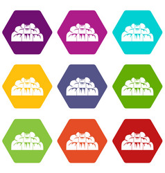 waterfall icon set color hexahedron vector image