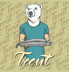 white bear with fresh fish vector image