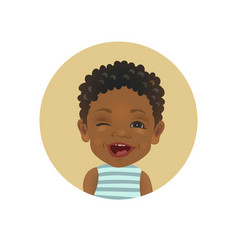 Winking afro american child facial expression vector