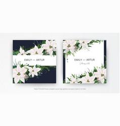 winter season wedding floral invite invitation vector image