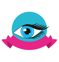 women eye cartoon round icon vector image