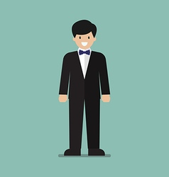 Young man in tuxedo vector