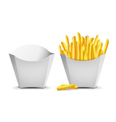 french fries white empty blank paper bag vector image