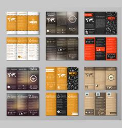 Set triple folding coffee menu vector image