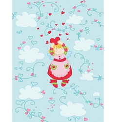 smiling love angel vector image vector image