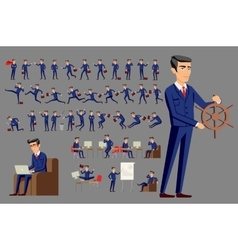 young cartoon businessman in blue suit vector image vector image