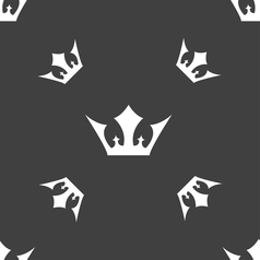 Crown icon sign Seamless pattern on a gray vector image