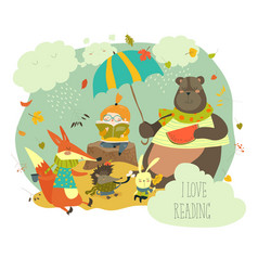 cute girl reading book to wild animals vector image