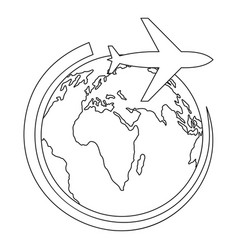 plane on earth icon outline style vector image