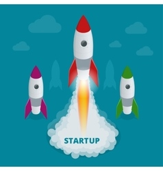 Startup flat 3d isometric style technology vector image vector image