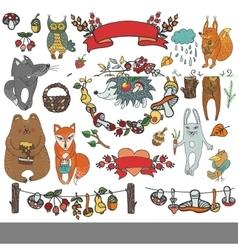 Wild animals decor elementsWoodlandautumn vector image vector image
