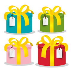 colorful paper gift boxes set isolated on white vector image vector image