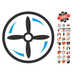Drone screw rotation icon with valentine bonus vector