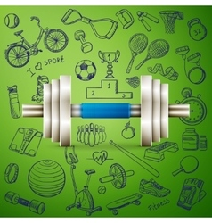 Dumbbell and hand draw sport icon vector