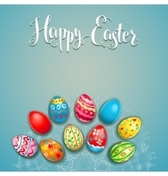 Easter eggs on a lace vector image