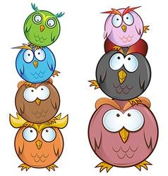 funny Owl cartoon group vector image