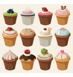 Set of cupcakes with different toppings vector image vector image