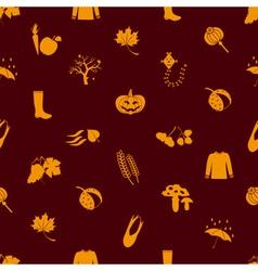 autumn icons orange seamless pattern eps10 vector image