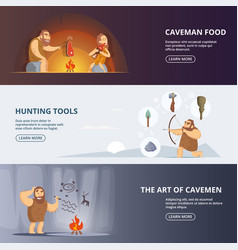 Caveman and woman in prehistoric period banners vector