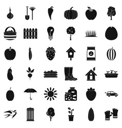 garden icons set simple style vector image