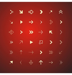 Abstract Arrows Set on Red Background vector image