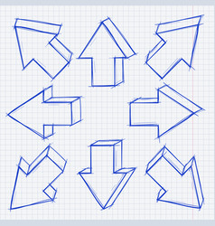 Arrows in all directions grunge technique hand vector