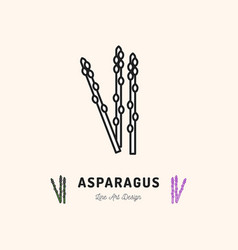 Asparagus icon vegetables logo thin line art vector